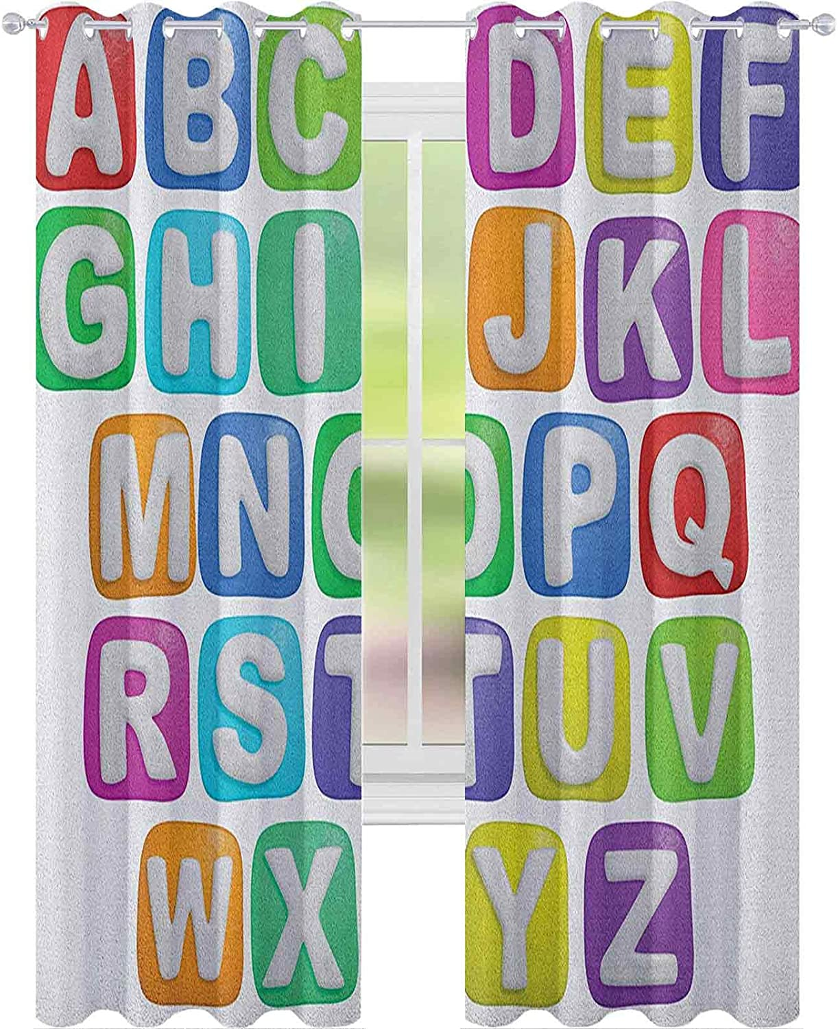 Window Curtain New mail order Cartoon Style Squares Children Colorful Alphabet Columbus Mall