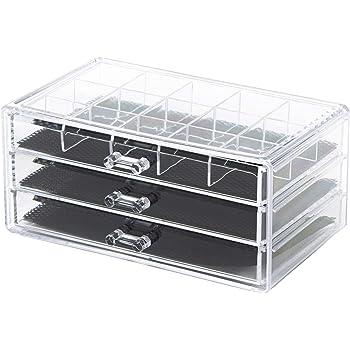 mDesign organizador de gafas con 3 cajones - Caja metacrilato en color transparente - También perfecta como joyero u organizador de maquillaje: Amazon.es: Juguetes y juegos