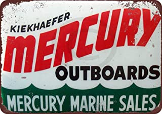 Jesiceny New Tin Sign Mercury Outboard Motors Marine Sales Vintage Aluminum Metal Sign 8x12 Inches
