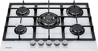 Millar GH7051TW Plaque de cuisson en Verre trempé avec 5 brûleurs à gaz Blanc 70 cm/Table de Cuisson