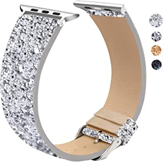 EurCross Bling Watch Band Compatible with iWatch Series 5, Series 4, Series 3, Series 2, Series 1, Bling Glitter Wristband Replacement Strap Women for Apple Watch 38mm 40mm 42mm 44mm
