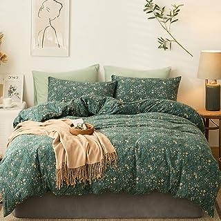 VClife Jersey Knit Cotton Duvet Cover Sets Queen 3 Pieces Floral Printed Bedding Sets Retro Garden Style T-Shirt Cotton Du...