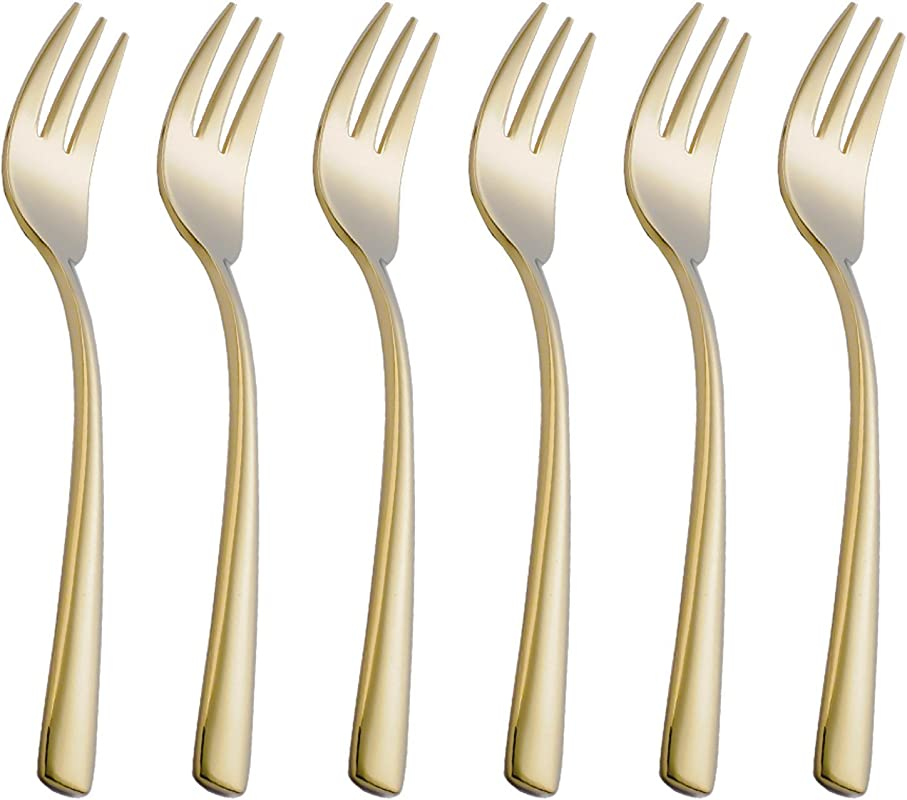 Onlycooker 6 Piece Gold Cake Fork Set 5 8 Inch Stainless Steel Oyster Cocktail Forks Set For 6 Silverware Sets Flatware Utensils Dinnerware Mirror Polished Dishwasher Safe