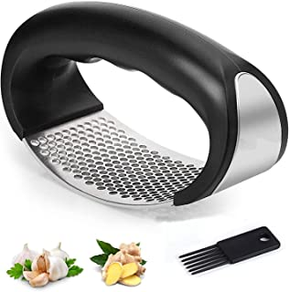 LEHSGY Garlic Press,Stainless Steel Ginger Crusher Squeezer with Cleaner Brush,Easy Clean,Dishwasher Safe