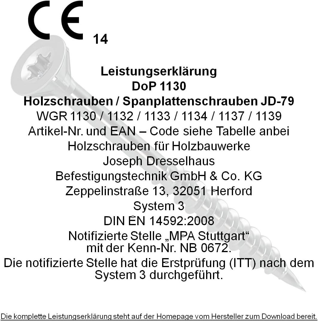 jaune filetage et nervures de fraise sous la t/ête galvanis/é- chrom/é 5 x 40 x 20 mm- 500 Pi/èces t/ête frais/ée Dresselhaus JD-79 1137 Vis de fixation panneaux de bois /à /étoile en I