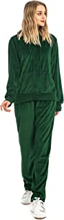 Mesospero Women's Solid Velour Sweatsuit Set Hoodie and Pants Sport Suits Tracksuits