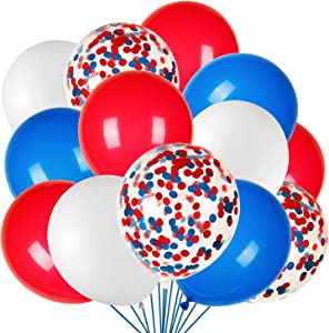 JOYYPOP 80Pcs Red White and Blue Latex Balloons with Confetti Balloons for 4th of July Decorations Independence Day Patriotic Anniversary