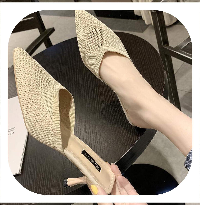 HANBINGPO Unusual Heels Slippers Woman Pointed Toe Footwear Slides Knitted shoes Woman Summer 2019