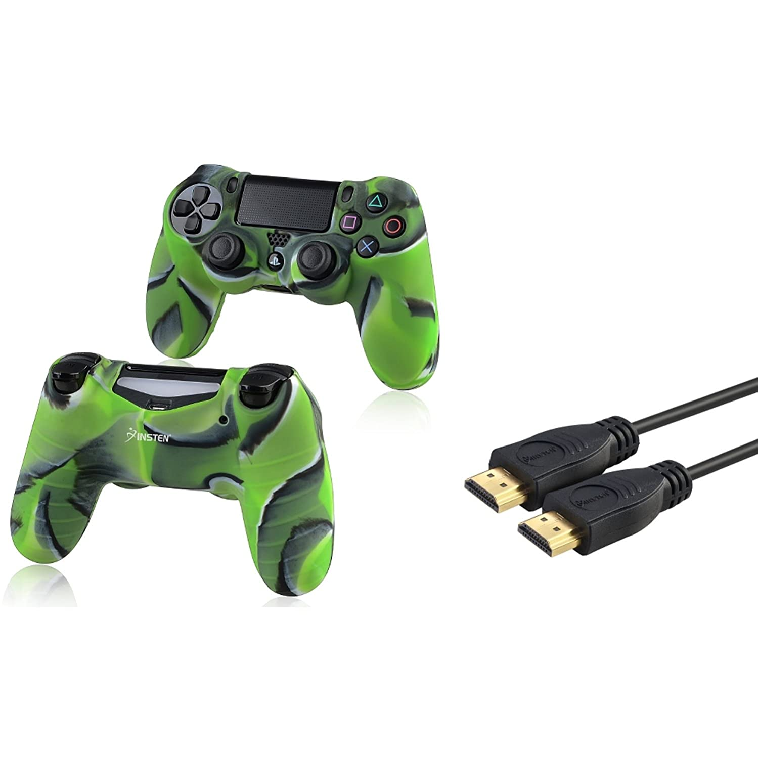 Insten 2 Packs Camouflage Navy Green Silicone Skin Case with FREE One 3FT High Speed HDMI Cable with Ethernet M/M Compatible With Sony PlayStation 4 (PS4) Controller