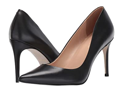 Massimo Matteo 90 mm Pointy Toe Pump (Black Leather) Women