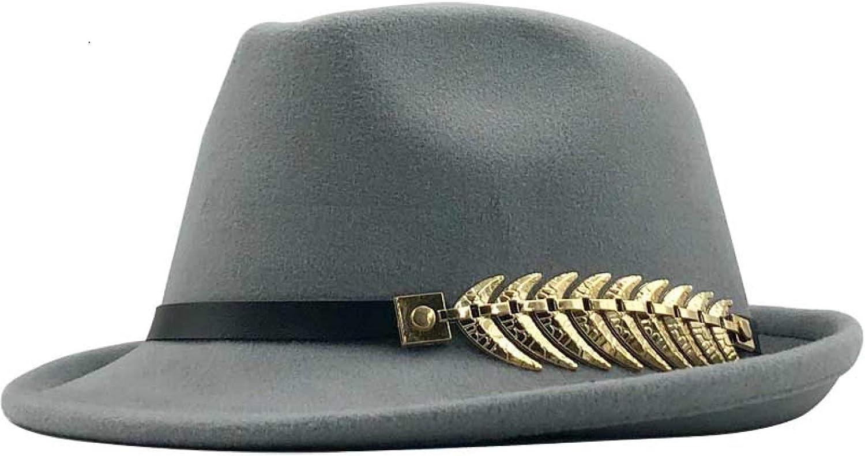 ASO-SLING Ladies Fold-Up Wide Brim Felt Trilby Fedora Herringbone Metal Belt Panama Hat Unisex Style Floppy Wool Hat