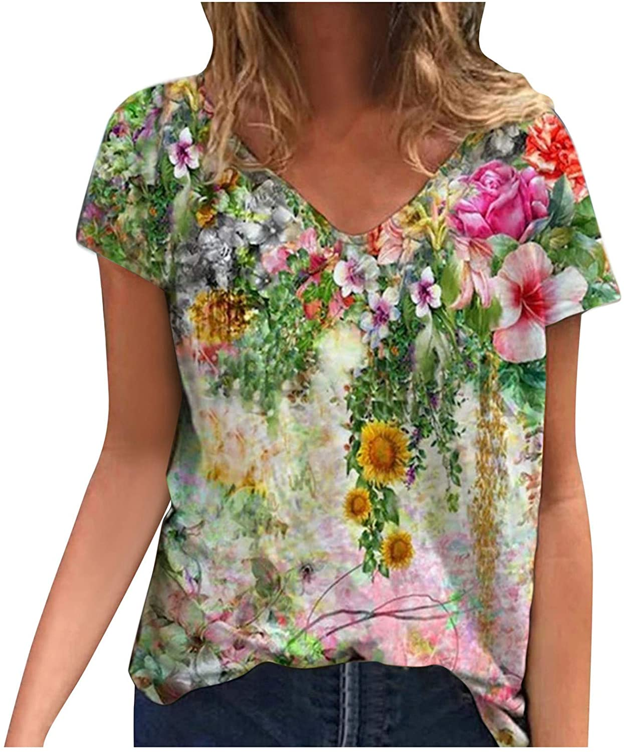 FABIURT Women Short Sleeve Tops,Womens Vintage Floral Printed Round Neck T Shirts Summer Casual Loose Blouse Tunic Tops