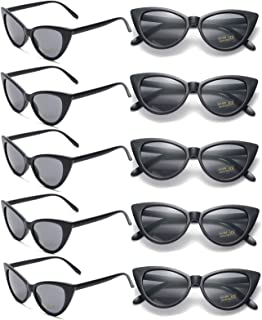 10 Pack Retro Vintage Narrow Cat Eye Sunglasses for Women Party Favors Clout Goggles Plastic Frame