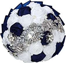 FAYBOX Hand Made Silk Rose Rhinestone Brooch Wedding Bouquets Customization Pearls Bride Holding Flowers