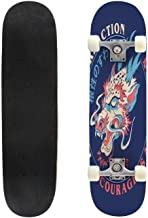 Classic Concave Skateboard Fear is a Reaction Courage is a Decision Slogan Print Design with Longboard Maple Deck Extreme Sports and Outdoors Double Kick Trick for Beginners and Professionals