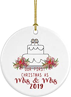 Our First Christmas as Mrs and Mrs 2019 Ceramic Christmas Ornament Gay Newlywed Gift Pride LGBT Lesbian Same Sex Marriage Wedding Cake Topper