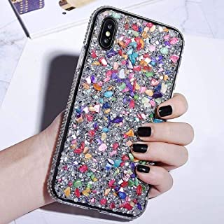 PhoneC Glitter Phone Case for iPhone 7 8 6 6s Plus XR XS MAX X Cases Cover for iPhone XR 7 8 Plus Soft TPU Bling Stone Crystal Frame-for iPhone 6 6s-Multi