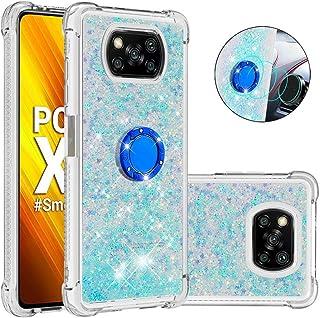 ZXL Poco X3 NFC ケース,キックスタンド付きの女性の女の子のためのシリコンTPU電話ケース、リングスタンドスリムケース for Poco X3 NFC Sky Blue
