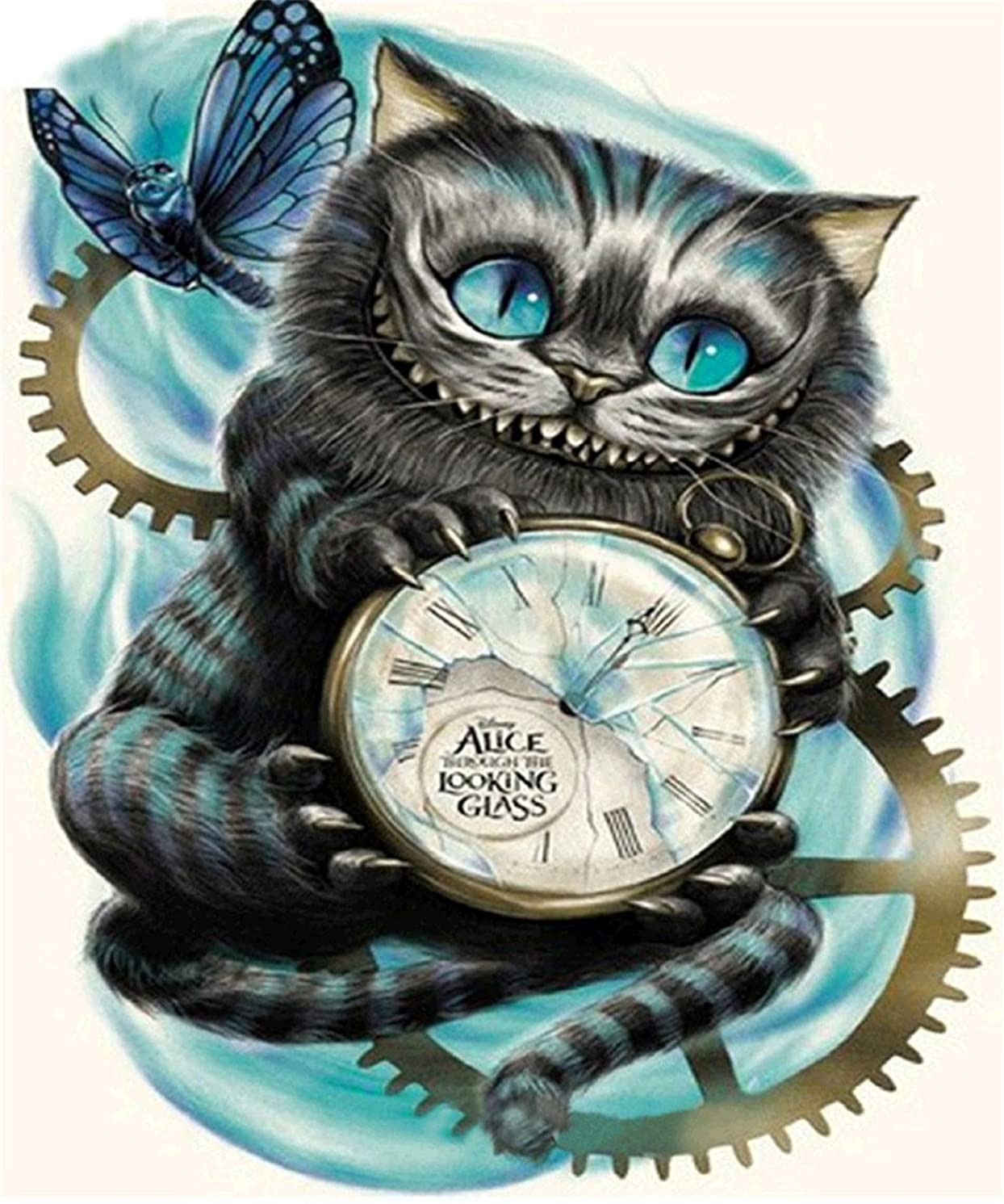 5D DIY Diamond Painting by Number Kits, Embroidery Painting Wall Sticker for Wall Decor - Cat with Clock, 12 x 16inch