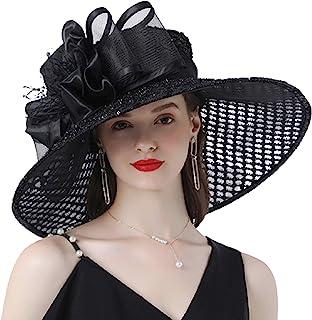 Womens Kentucky Derby Hat Organza Wide Brim Sun Hats Summer Hat Dress Cap Fascinator Bridal Church Tea Party Wedding Hat F...