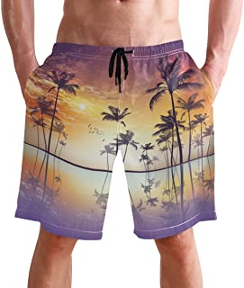 FFY Go Beach Shorts, Exotic Tropical Palm Printed Mens Trunks Swim Short Quick Dry with Pockets for Summer Surfing Boardsh...