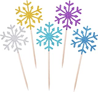 TOODOO 60 Pack Snowflake Cupcake Toppers Glitter Snowflake Cake Topper Picks for Christmas Birthday Party Baby Shower Wedding Cake Decoration (Multi color)