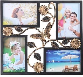 WINOMO Apertura de Marco de Fotos Colgante de Pared con Flores y Mariposa Marco de Imagen de Familia Vintage Collage (Negro)