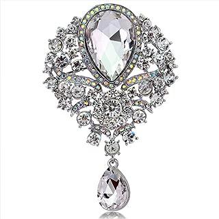 Axmerdal Wedding Bridal Big Crystal Rhinestone Bouquet Brooch Pin for Women (Silver)