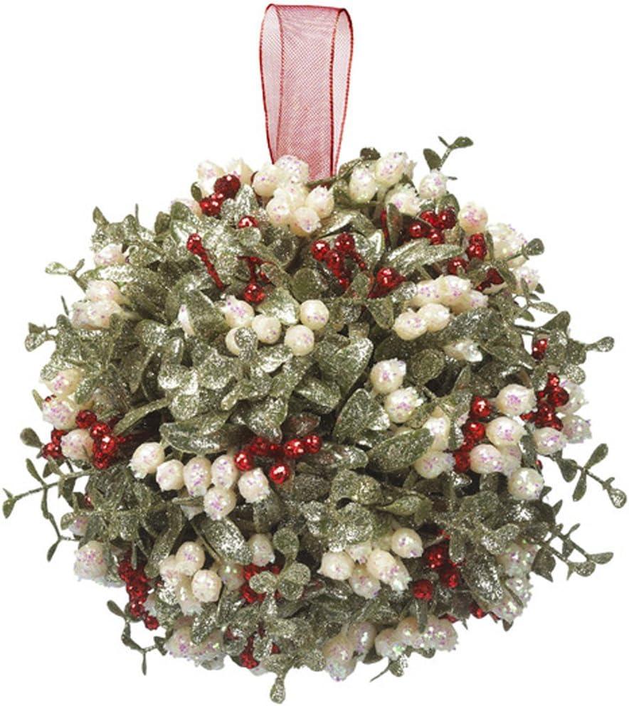 Worth Imports 6 Mistletoe and Pine Kissing Ball GreenWhite