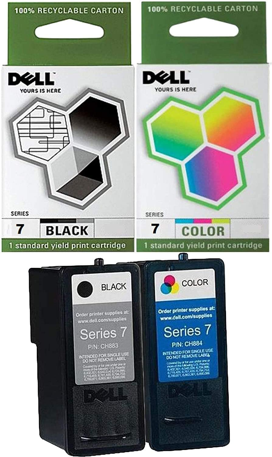 Genuine Dell Series 7 CH883 CH884 Ink cartridge 2 Pack in Bulk Packing for Dell 966 968 Printers
