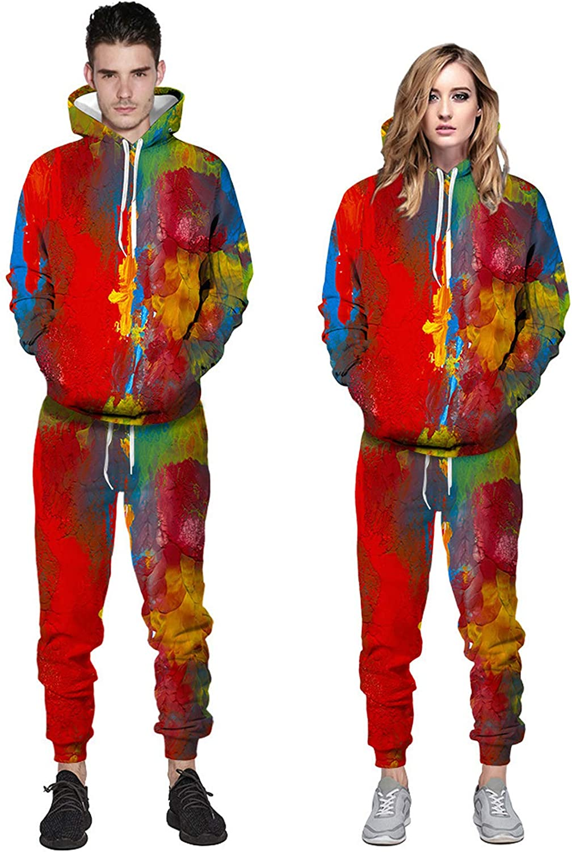 URVIP Unisex Tie Dye Digital Loungewear 3D All Over Printed Casual Athletic Tracksuits Hoodies Pants Sports Sets