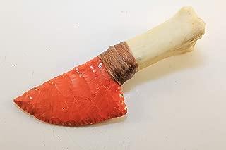 Sunkist Orange Slag Glass Flint Knapped/Knapping Pressure Flaked Domed Knife Blade Dagger Point Hafted On Deer Leg Bone Handle