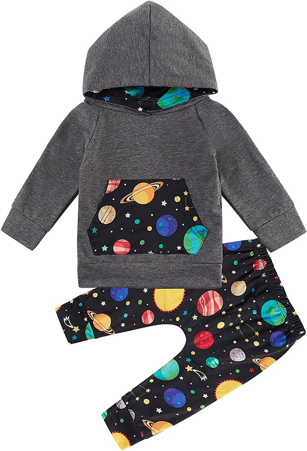 Kids4ever 0-24M Baby Long Sleeve Hoodies + Sweatsuit Pants Toddler Boys Animal Graphic Outfits Sets