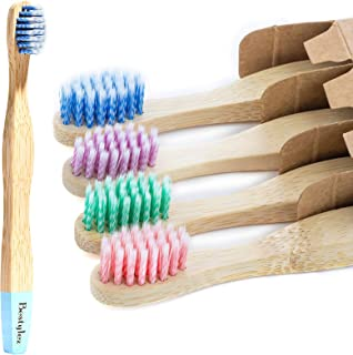 Sponsored Ad - Bestylez Kids Bamboo Toothbrushes, Extra Soft Toddler Color Safe Spiral Bristle Suitable for Age 3+ Child, ...