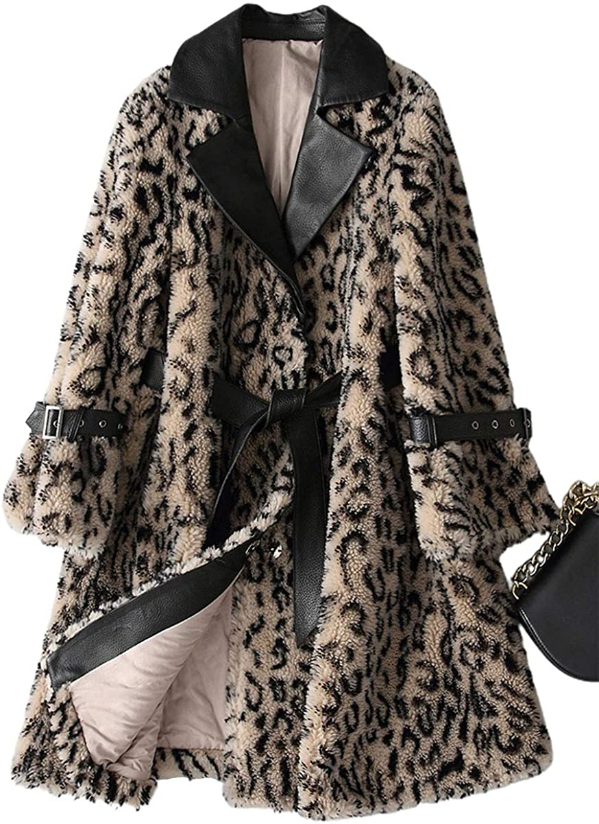 ebossy Women's Notch Collar Leopard Cheetah Faux Fur Shearling Coat with Leather Details