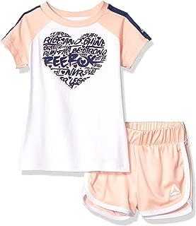 Reebok 锐步女童长袖运动 T 恤和套穿短裤套装