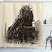 Ambesonne Steam Engine Shower Curtain, Antique Northern Express Train Canada Railways Photo Freight Machine Print, Cloth Fabric Bathroom Decor Set with Hooks, 84 Long Extra, Tan Taupe