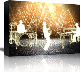 wall26 - Jazz Band Playing in Front of a Shiny Gold Background - Canvas Art Home Decor - 24x36 inches