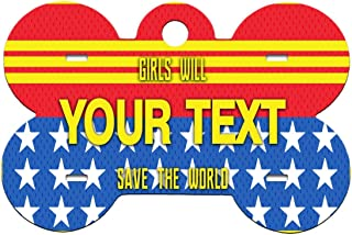 BRGiftShop Personalize Your Own Superhero Series: Girls Will Save the World Woman Bone Shaped Metal Pet ID Tag with Contact Information