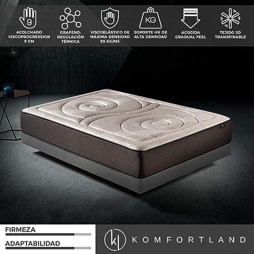 Komfortland Colchón 135x190 viscoelástico Memory Platinum de Altura 27 cm, 9 cm de ViscoProgression Grafeno de Alta Densidad (85 kg/m3): Amazon.es: Hogar