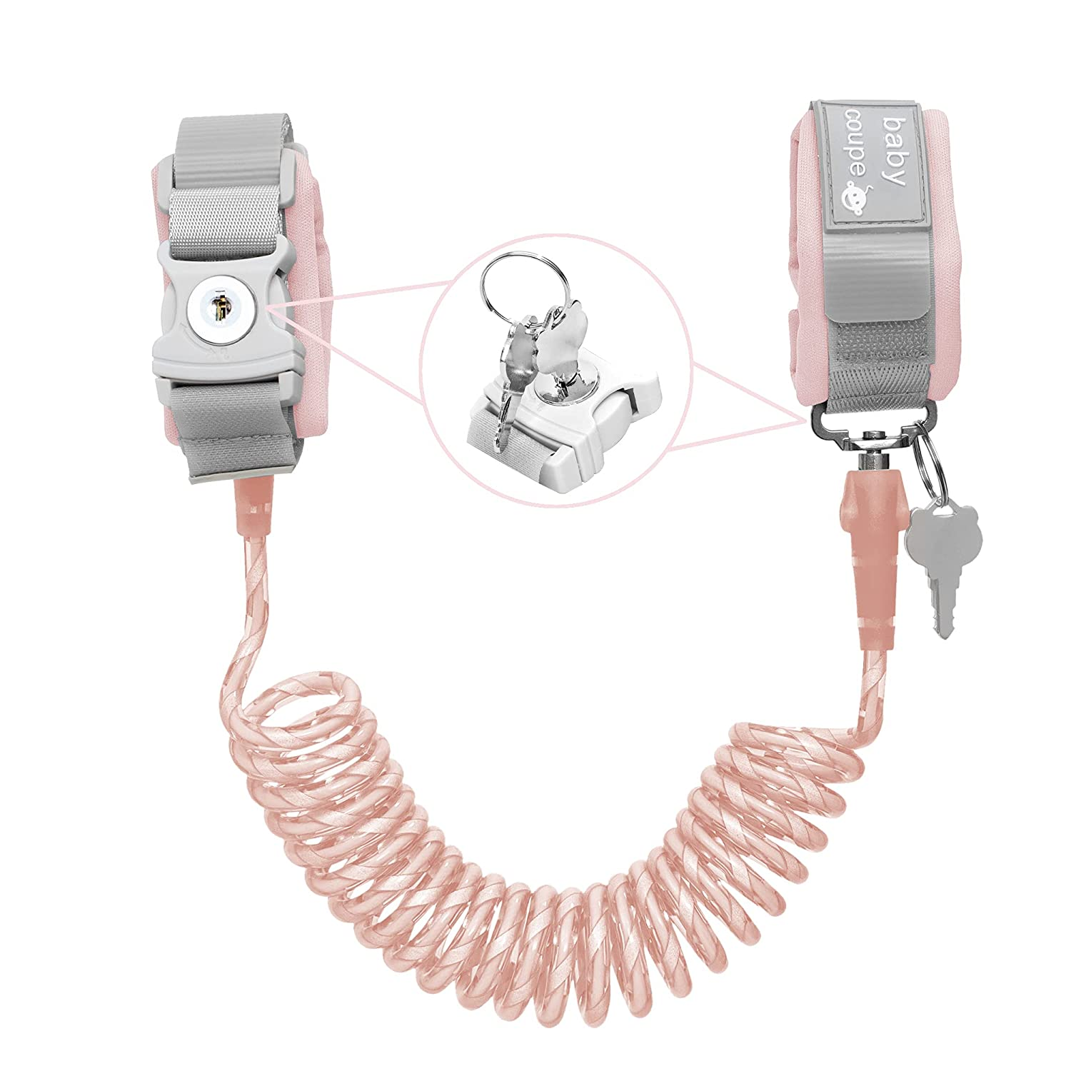 Toddler Harness Walking Leash- Child Anti Lost Wrist Link - Child Safety Harness - Upgrade with Reflective(6.5ft) - for Boys and Girls to Disneyland, Zoo or Mall. (Pink)