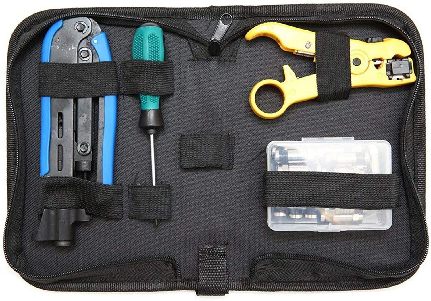 Cable Repair Tool Kit Set, with Screwdriver Combination Cable Stripping Pliers Professional Crimper Tool
