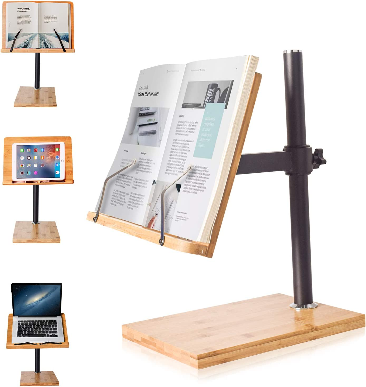 Book Stand Regular dealer Height Adjustable Large Los Angeles Mall Bamboo Upright wishacc Size