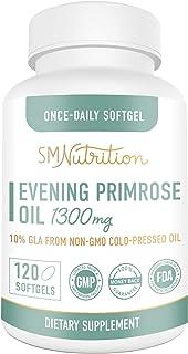 Evening Primrose Oil 1300mg (120 Softgels) 10% GLA from Cold-Pressed EPO Oil. No Preservatives or Artificial Additives; Non-GMO & Gluten Free