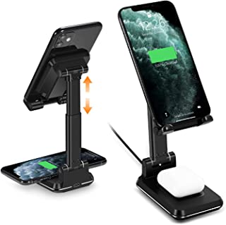 Cell Phone Stand Wireless Charger for Desk-WALOTAR Dual 10W Qi Fast Wireless Charging Foldable Angle&Height Adjustable Pho...