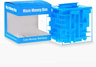 Elfesto Money Maze Puzzle Box: 3D Maze Money & Credit Card Gift Cube| Piggy Bank Money Holder/Saving Box|Fun, Challenging Game/ Brain Teaser for Kids & Adults|Top Money Gifting Puzzle Cube Box| Blue