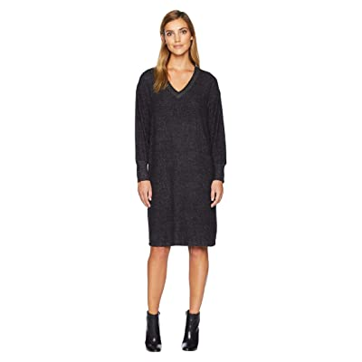 B Collection by Bobeau Janice V-Neck Cozy Dress (Raven Black Mix) Women