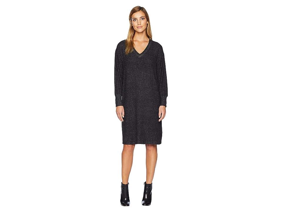 B Collection by Bobeau Janice V-Neck Cozy Dress (Raven Black Mix) Women