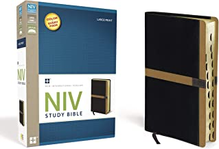 NIV Study Bible, Large Print, Leathersoft, Black/Tan, Red Letter Edition, Thumb Indexed