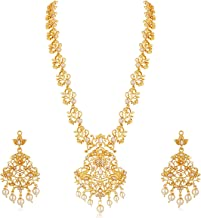 APARA Traditional Floral Long Gold Plated Yellow Haram South Indian Jewellery Necklace Set for Women